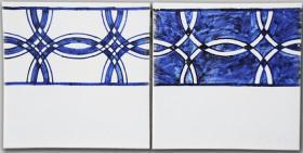 Fries 2 ( positiv-negativ), blau Nr 20, weiß Nr 20 C