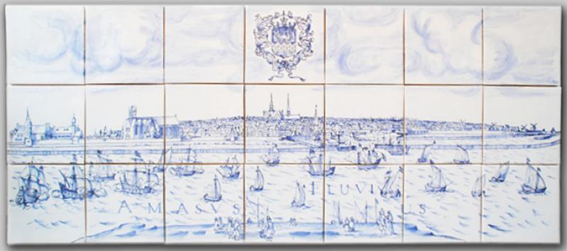 Stadtansicht Emden, nach Kupferstich v Pocerius, Unikat